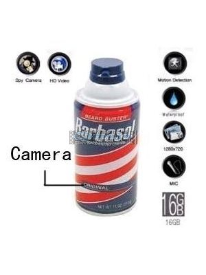 Shaving Cream Hidden Remote Control Pinhole Spy Camera DVR HD 1280X720 16GB(Motion Activated)